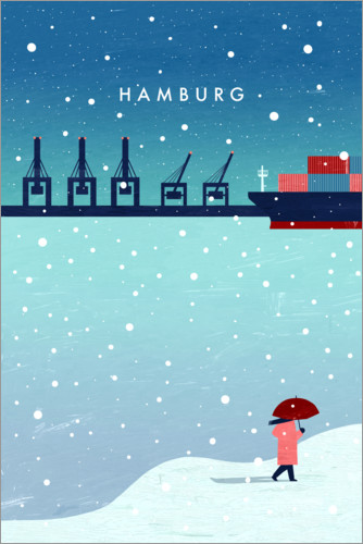 Premium-Poster Hamburg – im Winter Illustration