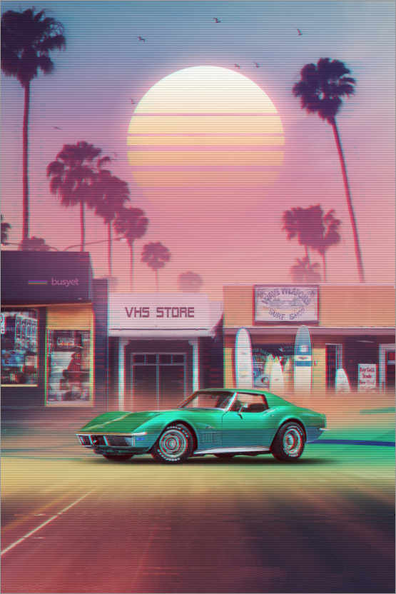 Premium-Poster Synthwave Sunset Drive