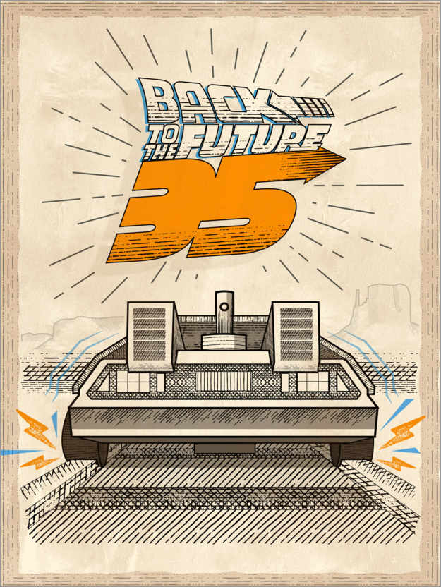 Premium-Poster DeLorean Vintage-Illustration