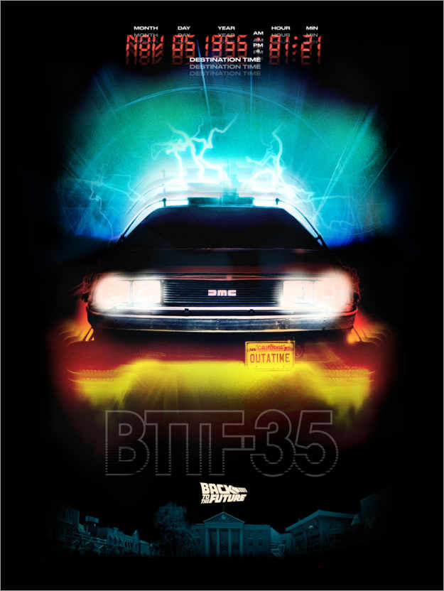 Premium-Poster DeLorean Night Ride