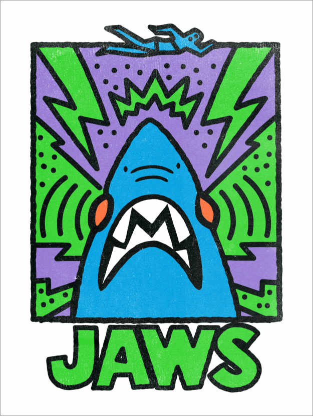 Premium-Poster Jaws - Keith Haring Style II