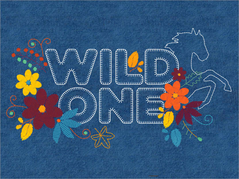 Premium-Poster Wild one Stickerei