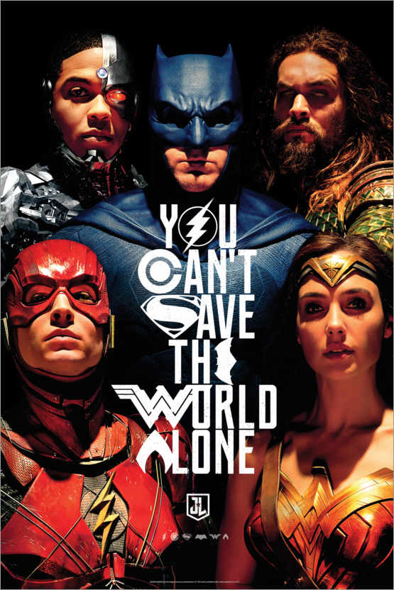 Premium-Poster Justice League - Can´t save the world alone