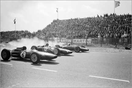 Acrylglasbild  Jim Clark, Graham Hill and Bruce McLaren am Start, Zandfoort 1963