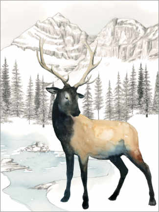 Wandsticker  Hirsch in Winterlandschaft - Grace Popp
