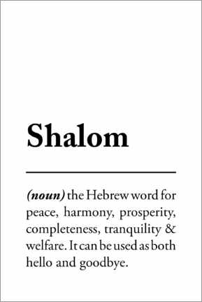 Premium-Poster  Shalom Definition (Englisch) - Typobox