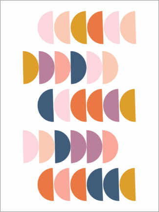 Gallery Print  Bunte Halbkreise - apricot and birch