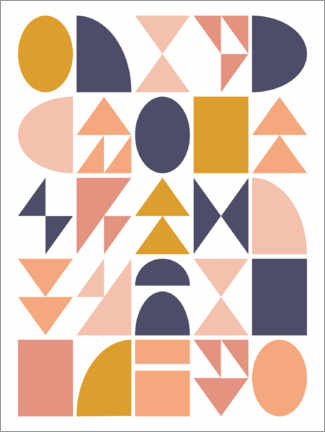 Gallery Print  Geometrische Formen - apricot and birch