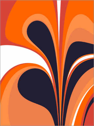 Premium-Poster  Abstrakt in feurigem Orange und Marineblau - apricot and birch