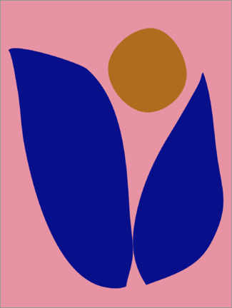 Premium-Poster  Abstrakte Blume in Pink und Blau - apricot and birch