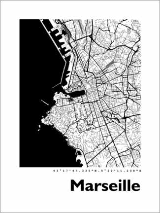 Gallery Print  Stadtplan von Marseille - 44spaces