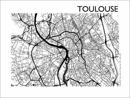 Gallery Print  Stadtplan von Toulouse - 44spaces