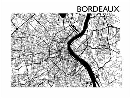 Wandsticker  Stadtplan von Bordeaux - 44spaces