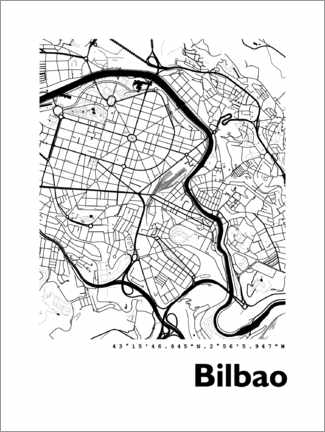 Wandsticker  Karte von Bilbao - 44spaces