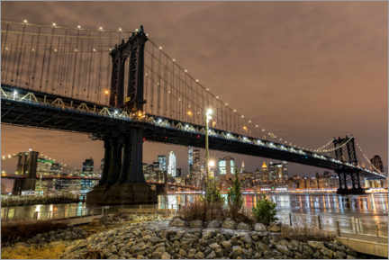 Premium-Poster Manhattan Bridge bei Nacht