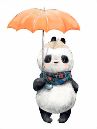 Leinwandbild  Pandabär mit Regenschirm - Kidz Collection
