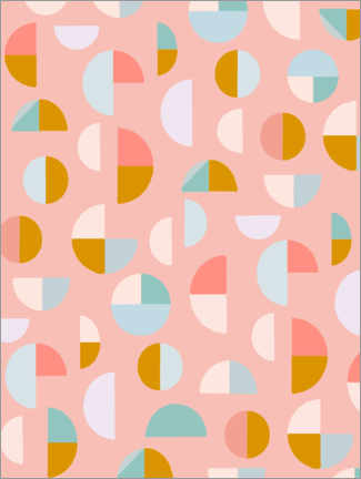 Premium-Poster  Candy Geometry - apricot and birch