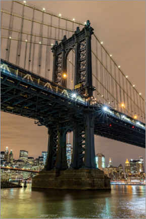 Premium-Poster Manhattan Bridge in New York bei Nacht
