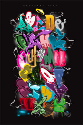 Alubild  Graffiti-Alphabet - plaque one