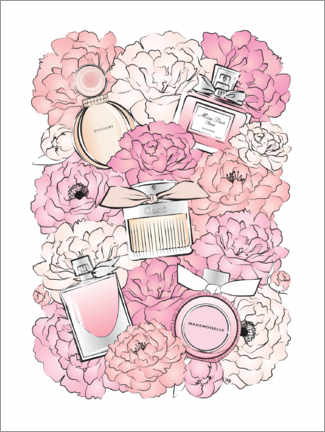 Leinwandbild  Pfingstrosen & Parfums - Martina illustration