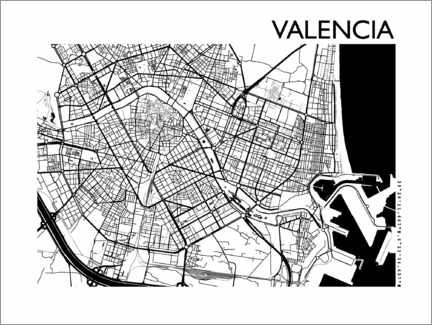 Gallery Print  Karte von Valencia - 44spaces