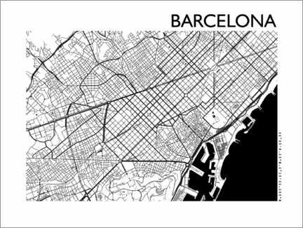 Alubild  Karte von Barcelona - 44spaces
