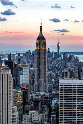 Premium-Poster  Empire State Building bei Sonnenuntergang, New York - Mike Centioli