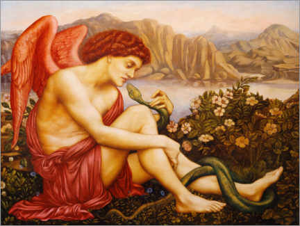 Wandsticker  Engel mit Schlange - Evelyn De Morgan
