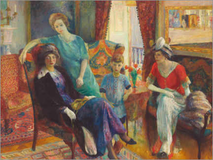 Hartschaumbild  Gruppe Familie - William James Glackens