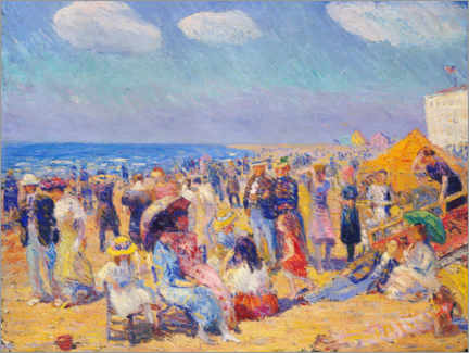 Premium-Poster  Menschenmenge an der Meeresküste - William James Glackens