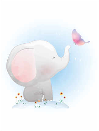 Premium-Poster  Elefant und Schmetterling - Kidz Collection