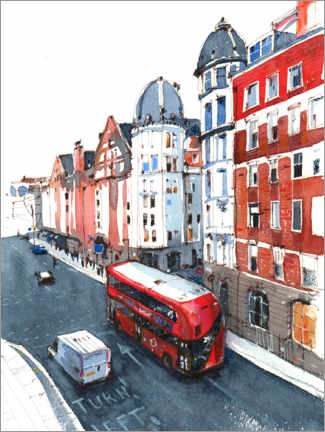 Gallery Print  Bus in den Straßen von London - Anastasia Mamoshina
