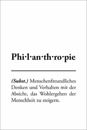 Premium-Poster Philanthropie - Definition