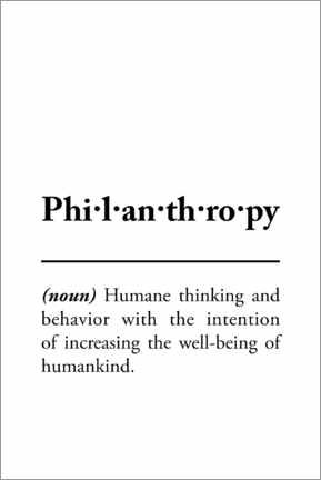 Premium-Poster  Philanthropy - Definition (Englisch) - Typobox