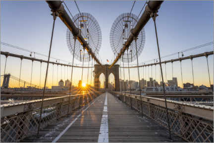 Leinwandbild  Sonnenaufgang auf der Brooklyn Bridge - Jan Christopher Becke