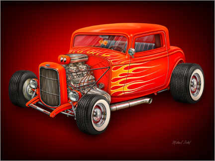 Premium-Poster Roter Hot Rod