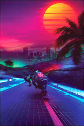 Premium-Poster  Synthwave Midnight Outrun - Denny Busyet