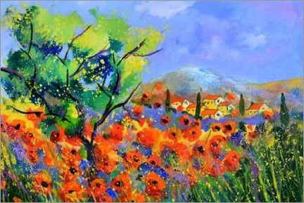 Premium-Poster Roter Mohn in der Provence