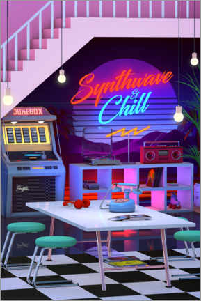 Premium-Poster Synthwave And Chill