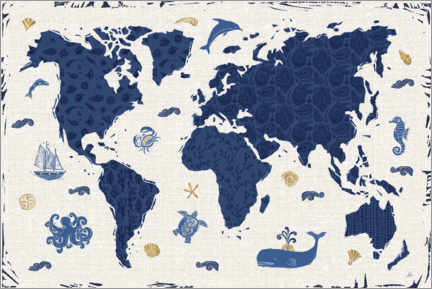 Leinwandbild  Indigo World Map - Daphne Brissonnet