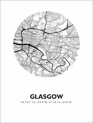 Hartschaumbild  Stadtplan Glasgow - 44spaces
