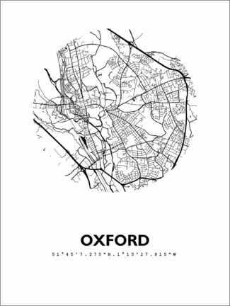 Wandsticker  Stadtplan Oxford - 44spaces
