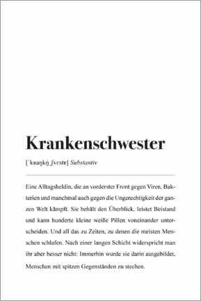 Alubild  Krankenschwester Definition - Pulse of Art