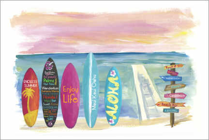 Premium-Poster Surfboards am Meer