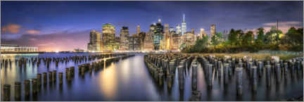 Acrylglasbild  Manhattan Skyline und Brooklyn Bridge Park - Jan Christopher Becke