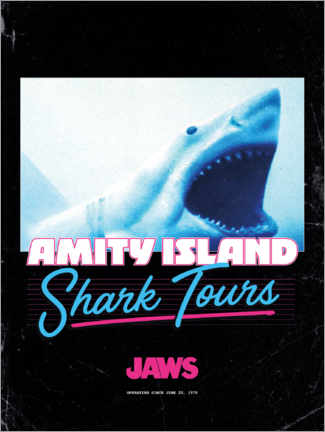 Hartschaumbild  Shark Tours, retro