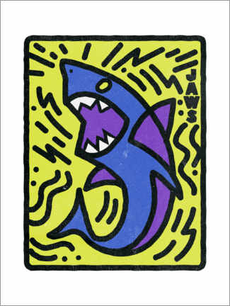 Holzbild  Jaws - Keith Haring Style