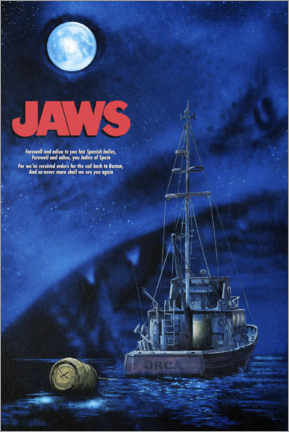 Premium-Poster  Jaws - Boot in der Nacht