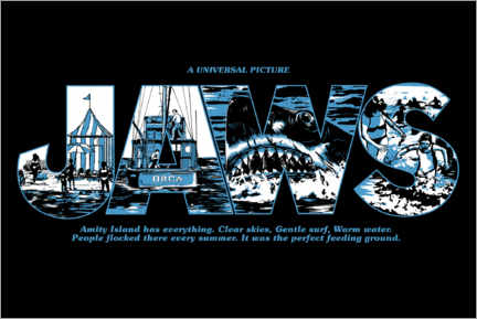 Premium-Poster  Jaws - Perfect feeding ground, black