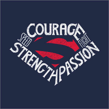 Wandsticker  Courage Strength Passion